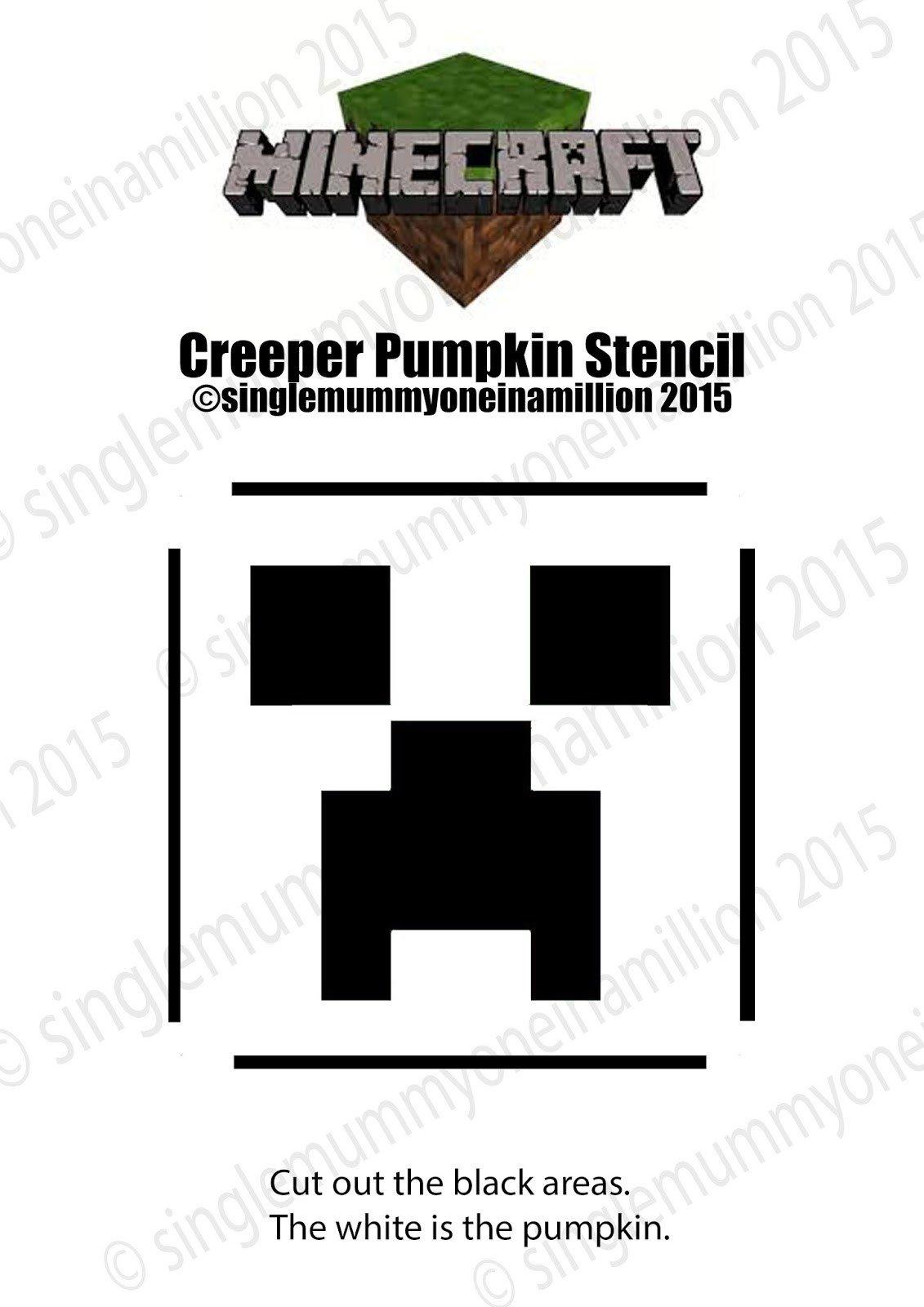 Minecraft Pumpkin Stencils Single Mummy E In A Million Creeper Minecraft Pumpkin