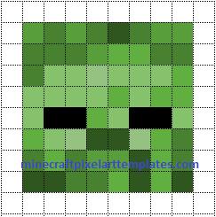 Minecraft Zombie Template Minecraft Pixel Art Templates Zombie