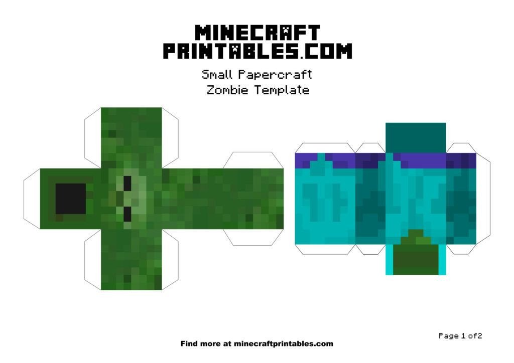 Minecraft Zombie Template Minecraft Printable Papercraft Zombie Template Small