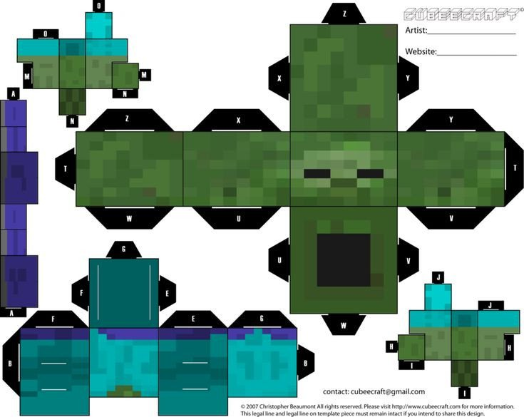 Minecraft Zombie Template Minecraft Zombie Cubeecraft Boys Pinterest
