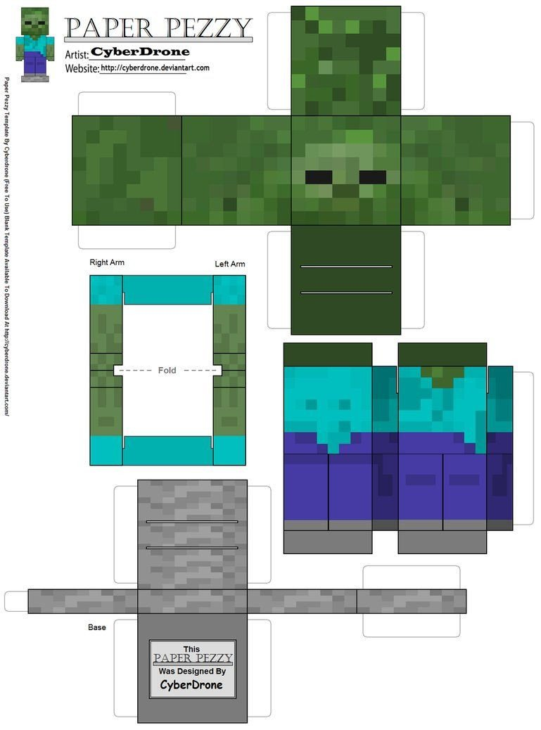 Minecraft Zombie Template Zombie Minecraft Paper toys Pinterest