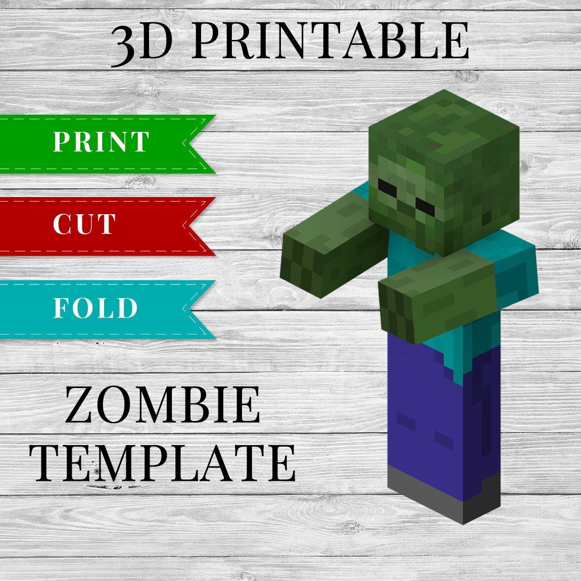 Minecraft Zombie Template Zombie Printable Minecraft Zombie Papercraft Template