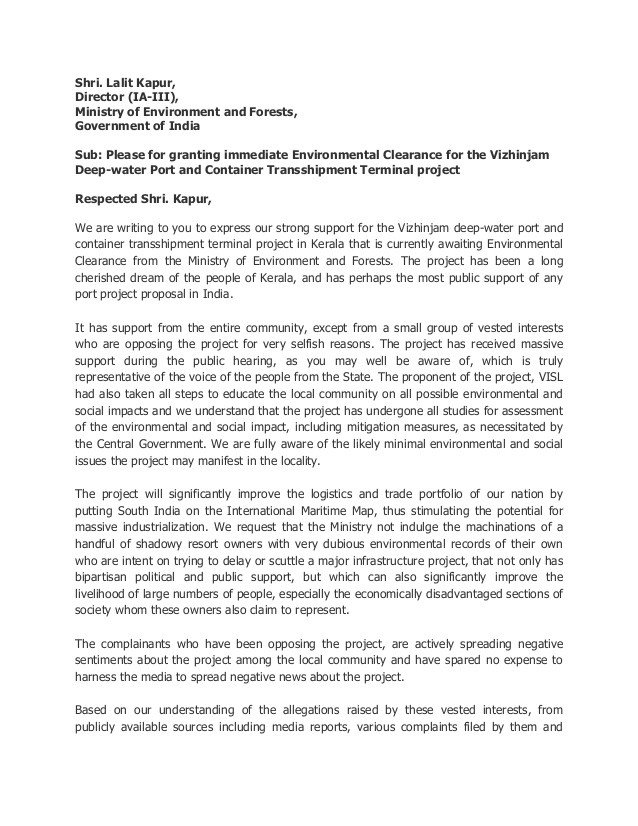 Ministry Support Letter Template Letter to Moef for Environmental Clearance Of the