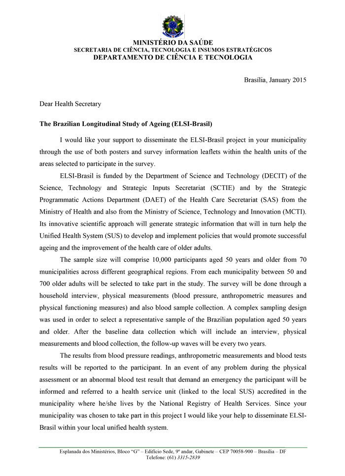 Ministry Support Letter Template Supporting Letter From the Ministry Of Health – Elsi