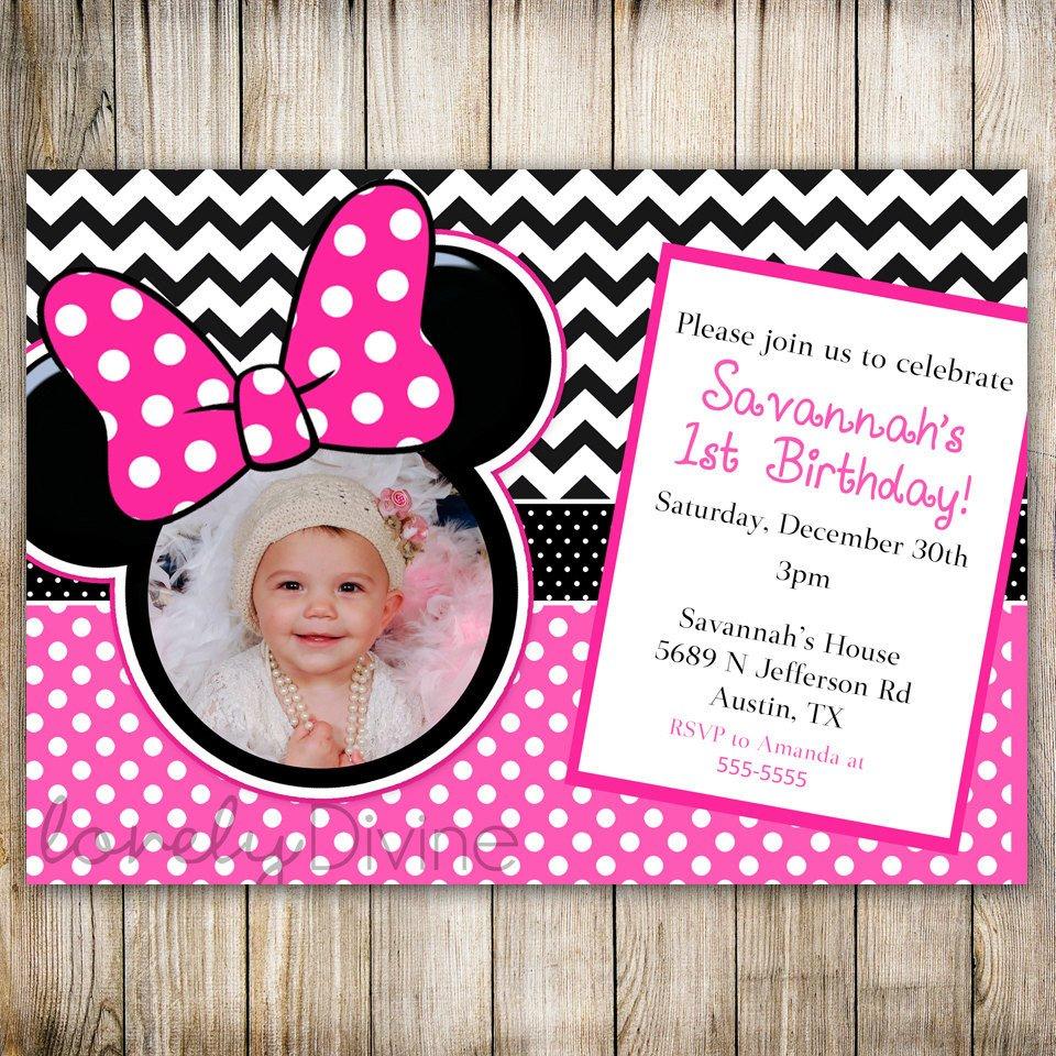 Minnie Mouse Party Invitations Minnie Mouse Chevron Birthday 1st Birthday Invitation 2nd