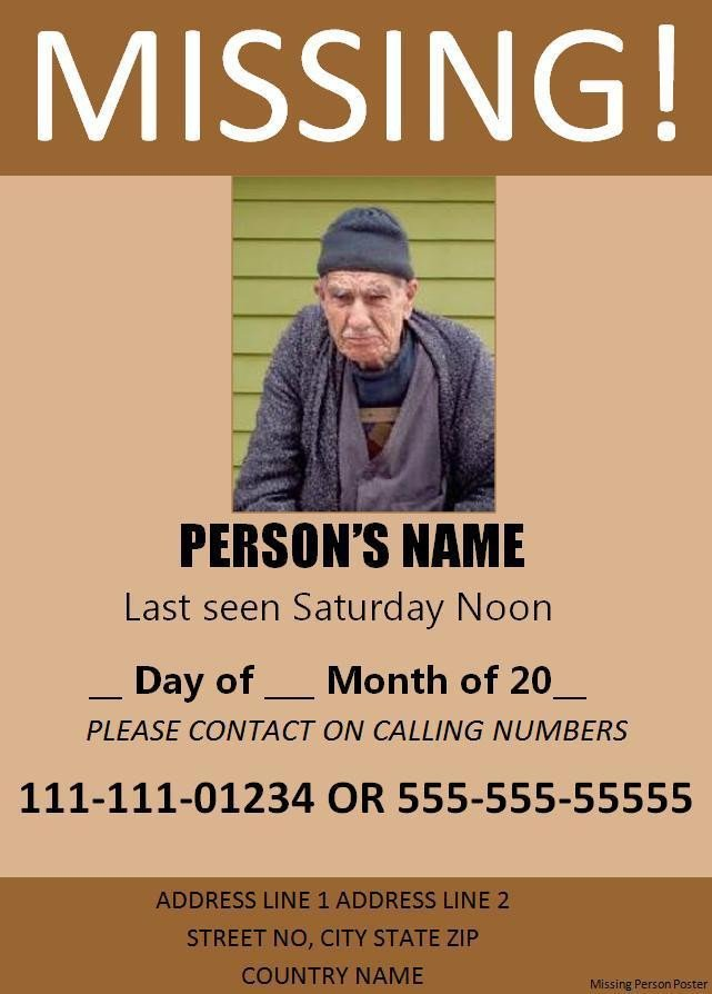 Missing Person Flyer Template 11 Missing Person Poster Templates