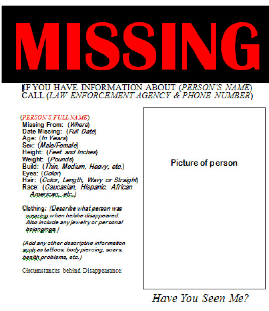 Missing Person Flyer Template 21 Free Missing Poster Word Excel formats