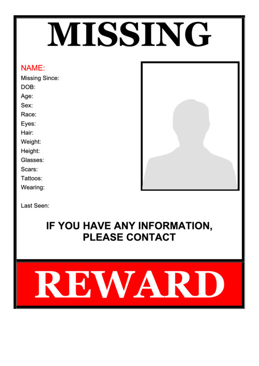 Missing Person Flyer Template Missing Person Flyer Template Printable Pdf