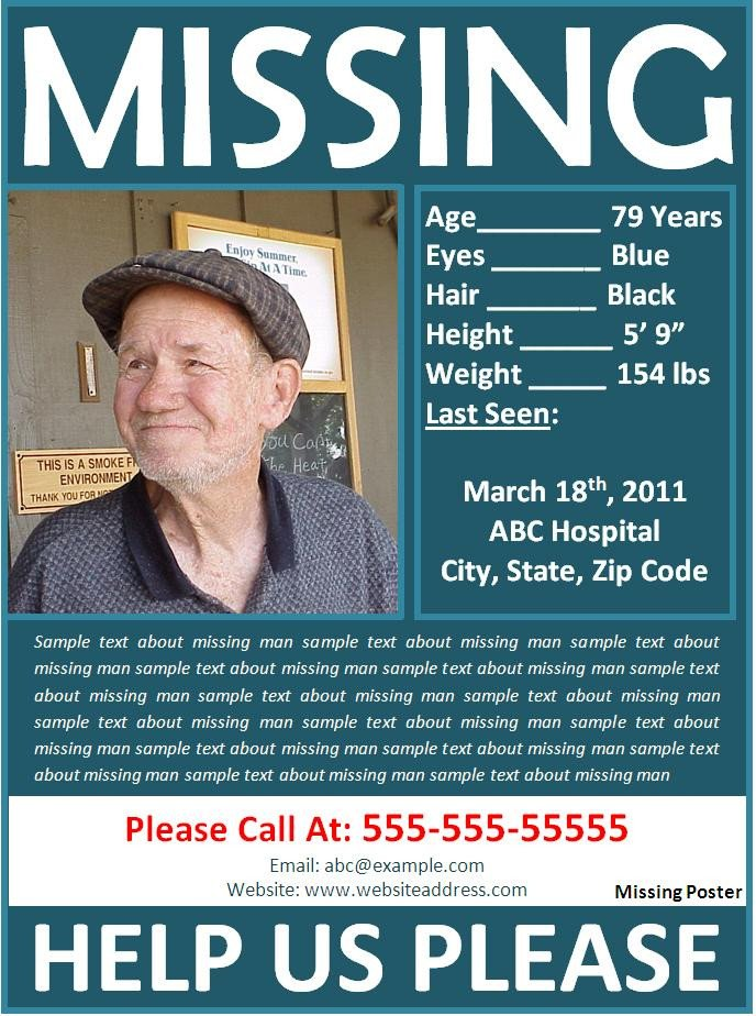 Missing Person Flyer Template Missing Poster Template