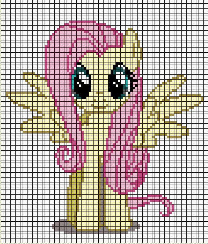 Mlp Pixel Art Template Fluttershy Pixel Art Template by Mlp Ponydesigner On