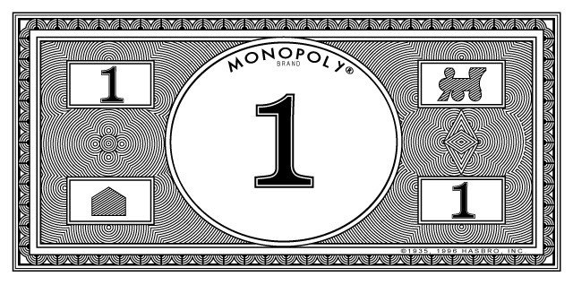 Monopoly Money Black and White 2017 Weekly College Football Pick Em