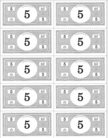 Monopoly Money Black and White Efl 2 0 Resources