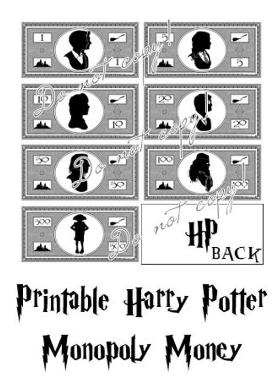 Monopoly Money Black and White Harry Potter Monopoly Money Printable Instant by