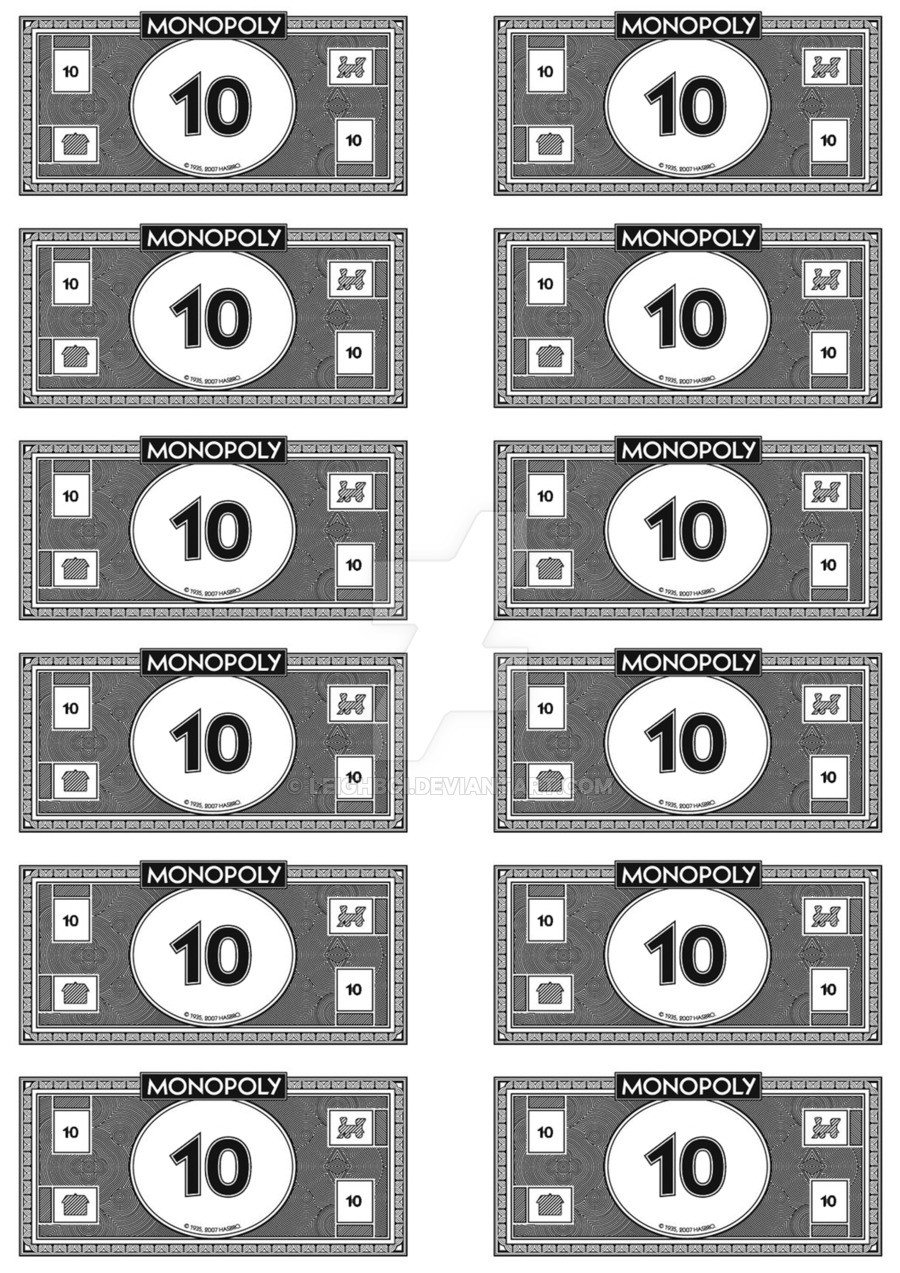 Monopoly Money Black and White Monopoly Money 10 S by Leighboi On Deviantart