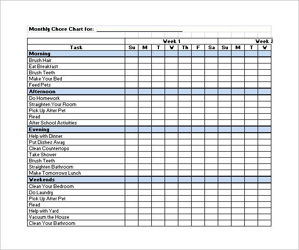 Family Chore Chart Template – 13 Free Sample Example