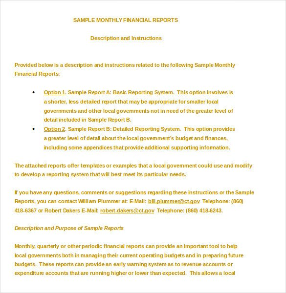 Monthly Financial Report Template 32 Sample Financial Report Templates Word Apple Pages