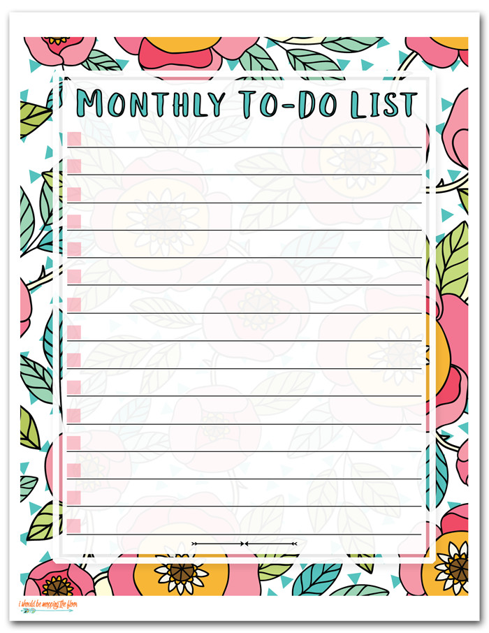 Monthly to Do List Template I Should Be Mopping the Floor Free Printable to Do List