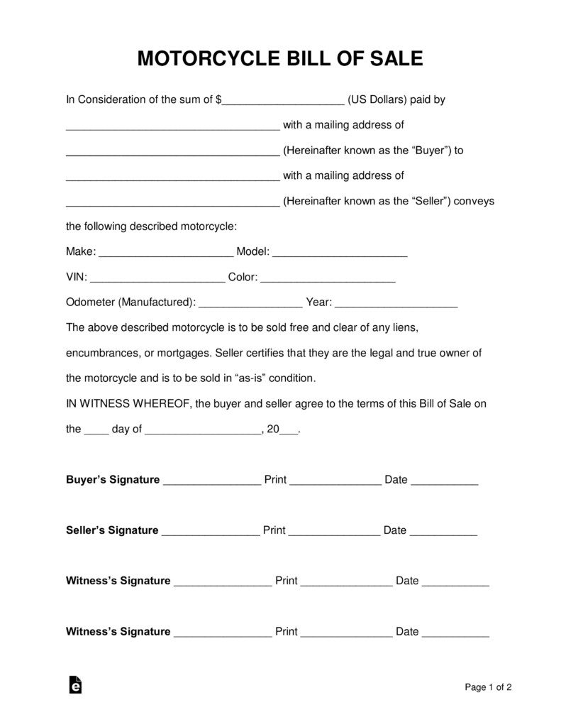 Free Motorcycle Bill of Sale Form PDF Word
