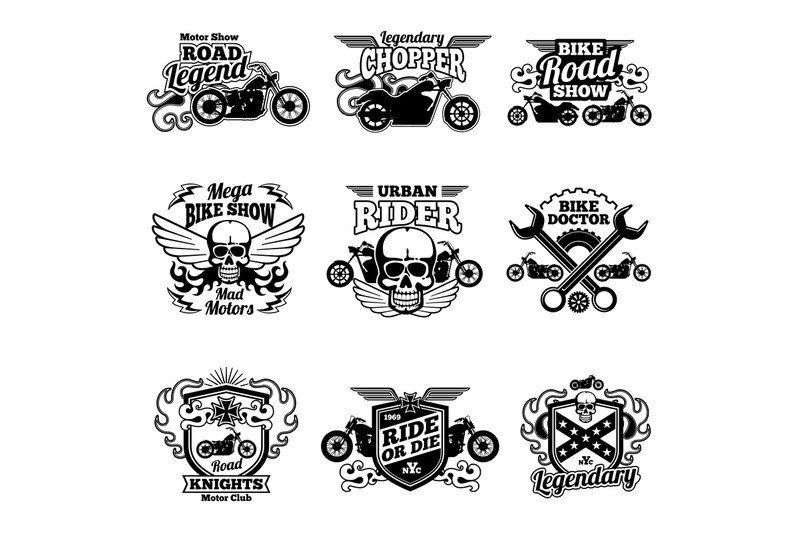 Motorcycle Club Patch Template Photoshop Motorbike Club Vintage Vector Patches Motorcycle Racing