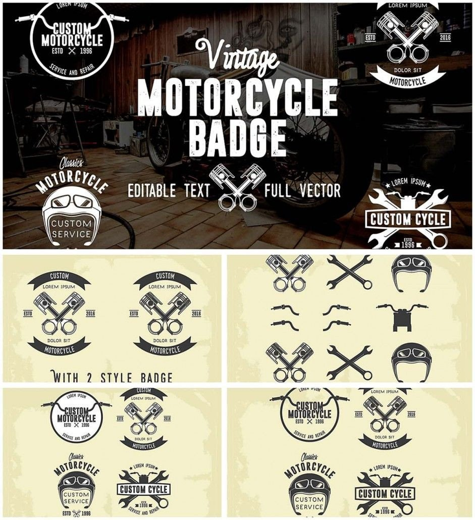 Motorcycle Club Patch Template Photoshop Retro Motorcycle Badges Collection