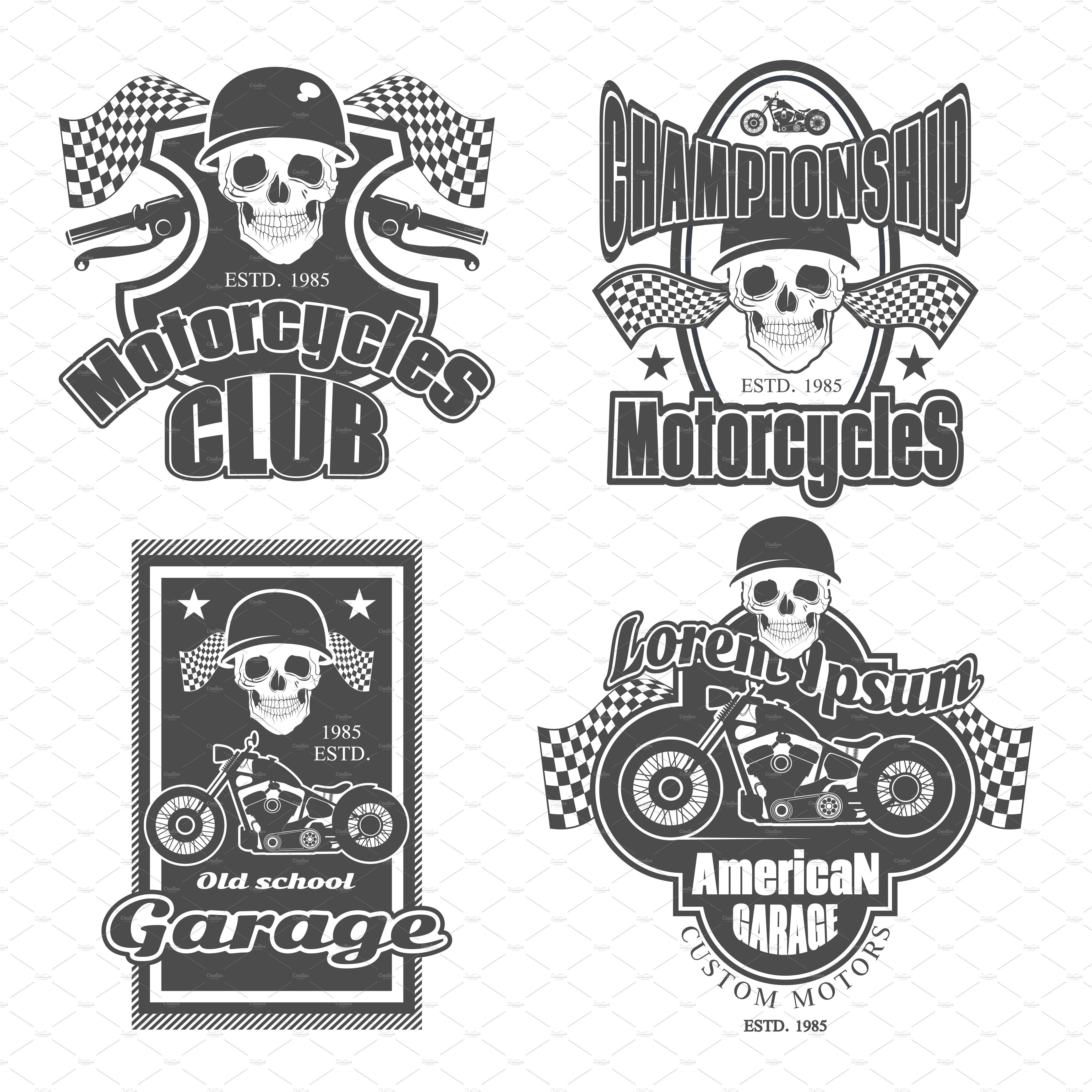 Motorcycle Club Patch Template Photoshop Set Of Vintage Motorcycle Labels Illustrations