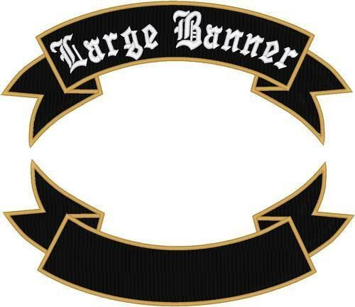 """Motorcycle Patch Template Custom Embroidered Motorcycle Rocker Banner Patch 14"""""""