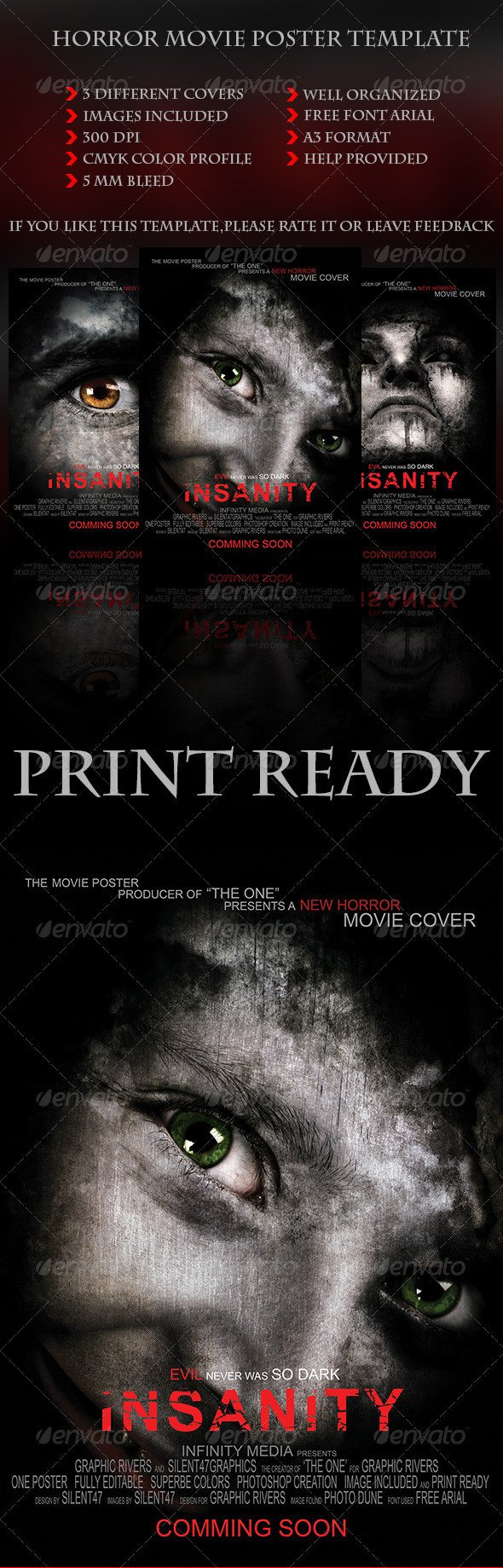 Movie Poster Template Psd Horror Movie Poster Template by Silentgraphics