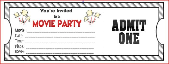 Movie Ticket Birthday Invitations Ideas – Bagvania FREE