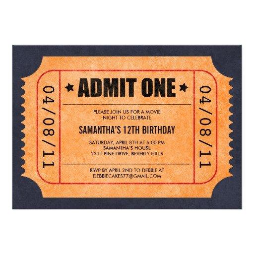 Movie Ticket Invitation Template Movie Ticket Invitations