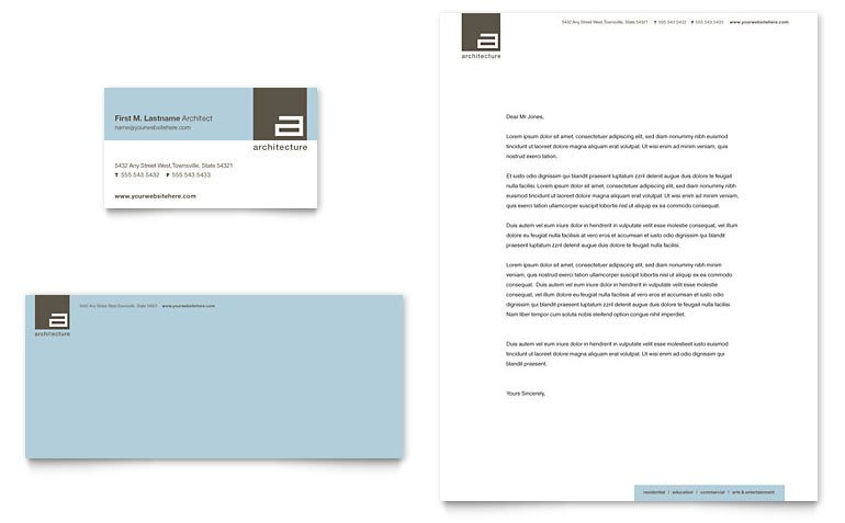 Ms Office Business Card Templates Architect Business Card & Letterhead Template Word