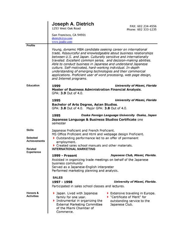 Ms Word Resume Template Download Resume Templates Microsoft Word