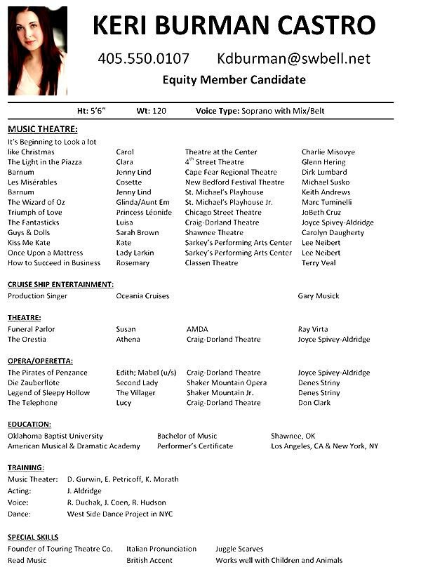 Musical Theatre Resume Examples