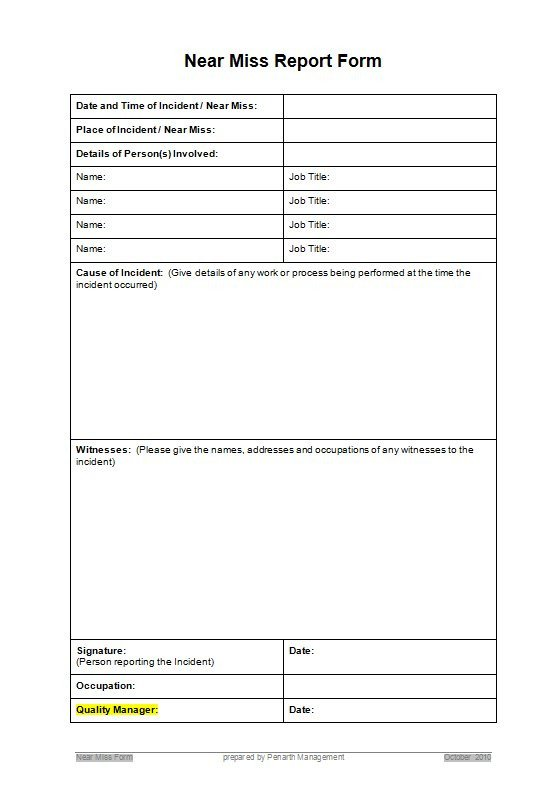 Near Miss Reporting Template Resources Penarth Management Limited
