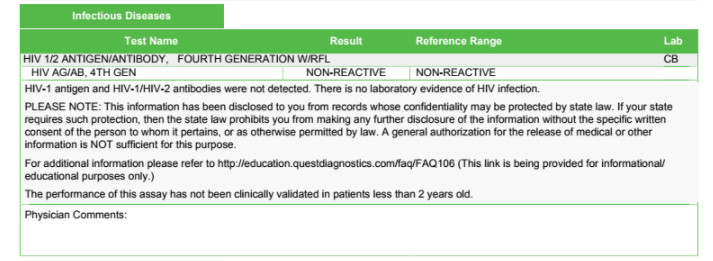 Negative Std Test Results Template Std Testing Example Test Results