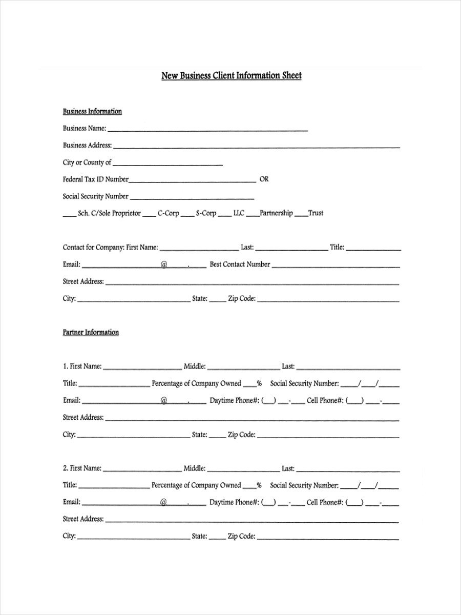 New Client form Template 13 Examples Of Client Information Sheets