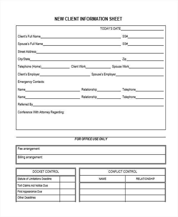 New Client form Template 45 Information Sheet Samples