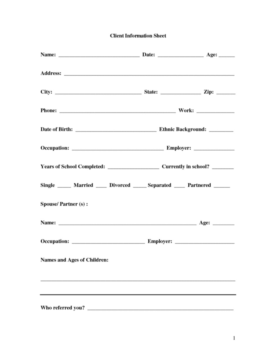 New Client form Template 8 Client Information Sheet Templates Word Excel Pdf formats