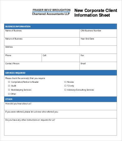 New Client form Template Client Information Sheet Templates 17 Free Word Pdf