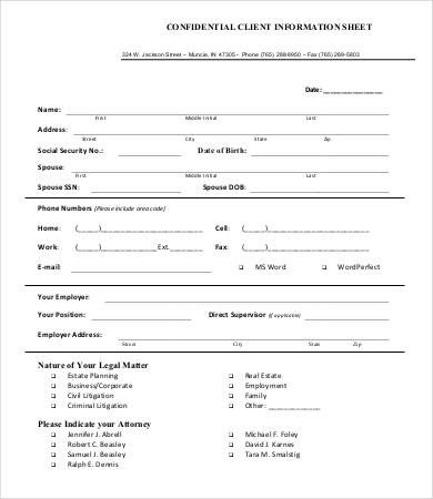 New Client form Template Client Information Sheet Templates 5 Blank Samples