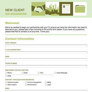 New Client form Template formcentral Template Exchange