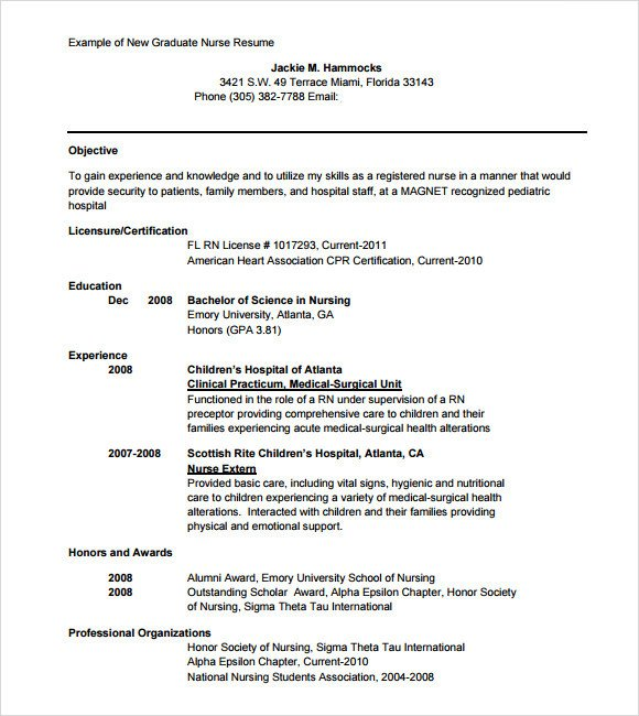 Sample Nursing Resume 8 Download Free Documents in PDF