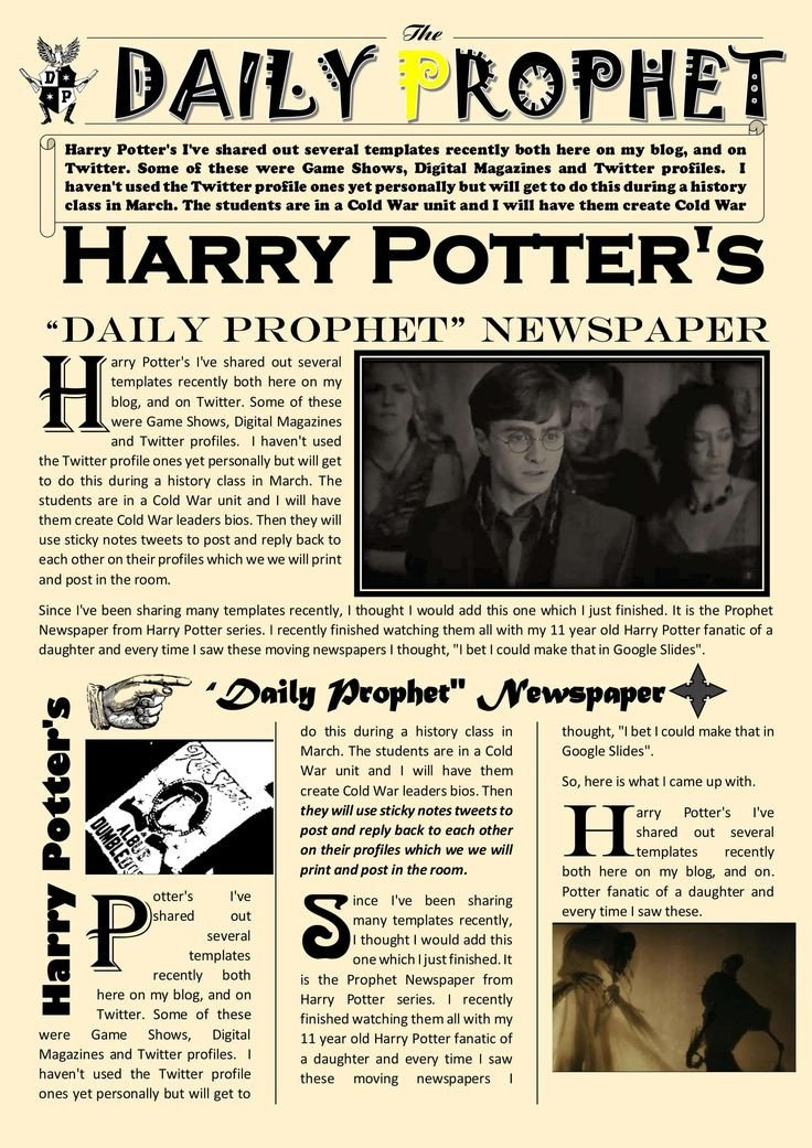 New York Times Newspaper Template Google Docs Newspaper Article Template Google Docs Harry Potter Daily