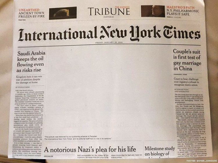 Pakistan Paper Censors Gay Kiss on Front Page of New York