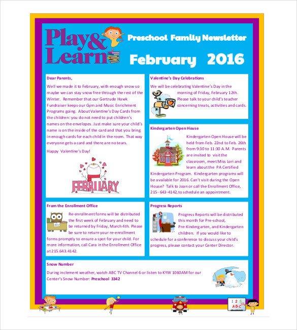 Newsletter Templates for Preschool 10 Preschool Newsletter Templates – Free Sample Example
