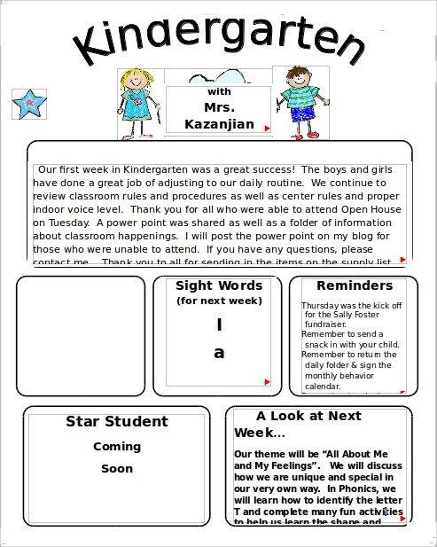 Newsletter Templates for Preschool 9 Kindergarten Newsletter Templates Free Sample