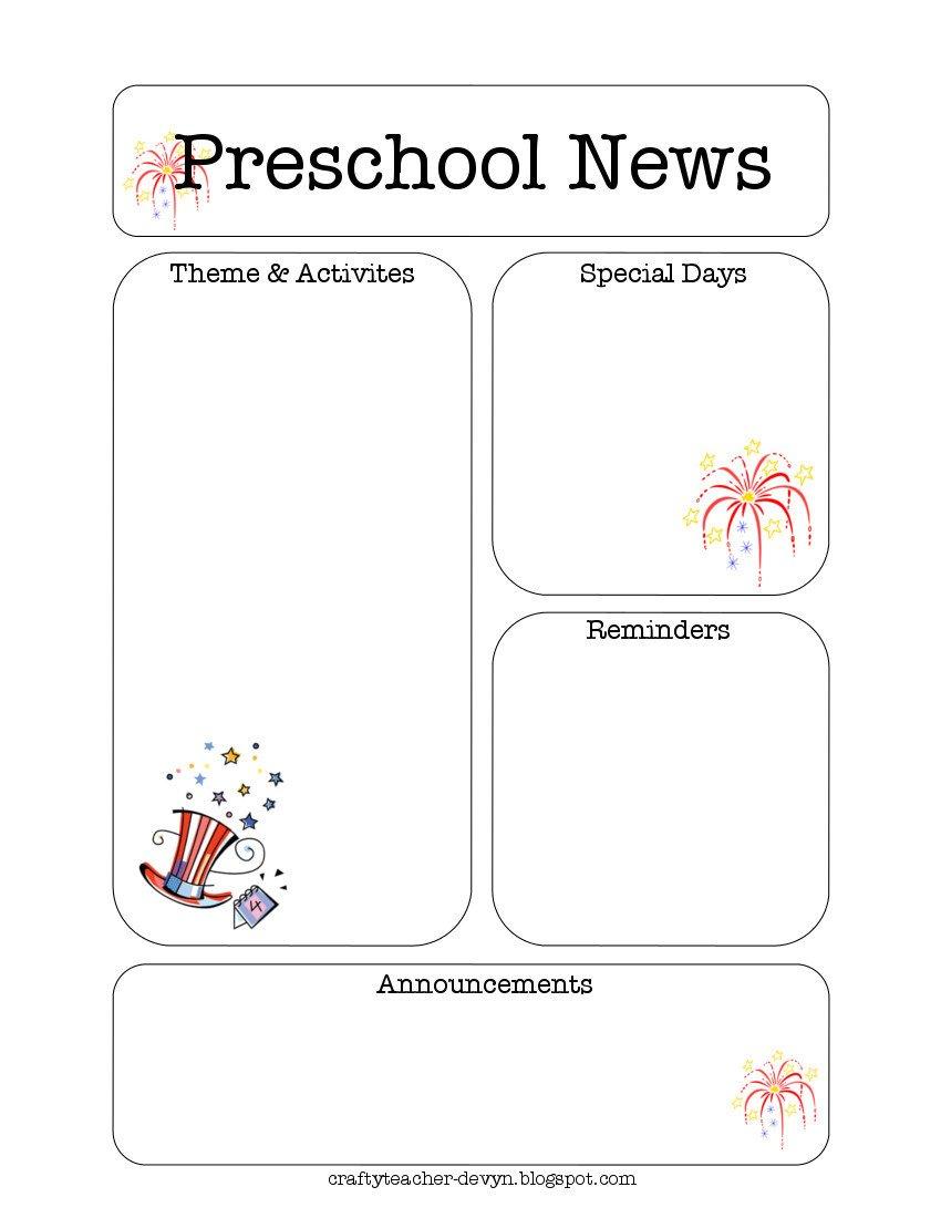 Newsletter Templates for Preschool July Preschool Newsletter Template