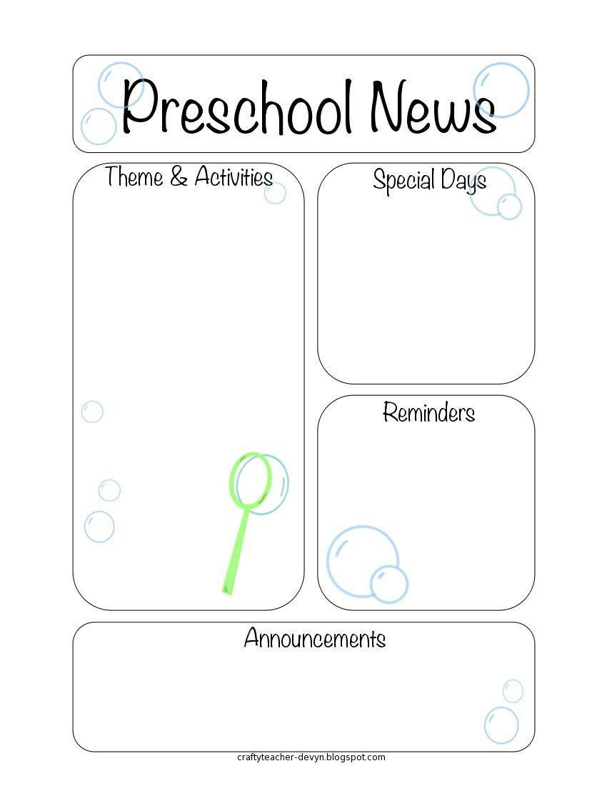 Newsletter Templates for Preschool Newsletter Templates