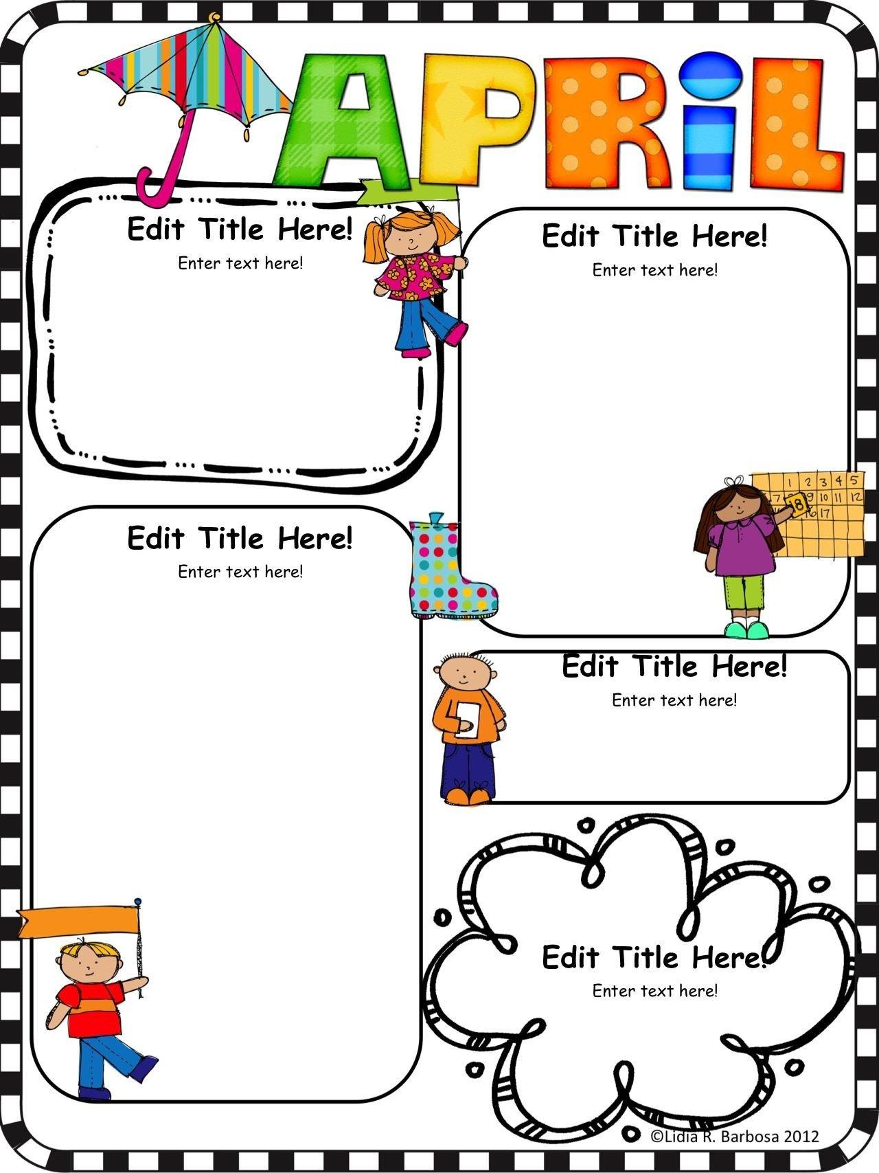 Newsletter Templates for Preschool Pletely Editable Monthly Newsletter Templates English