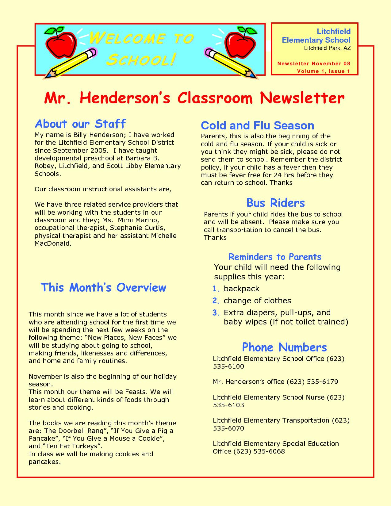 Newsletter Templates for Preschool Preschool Newsletter Samples