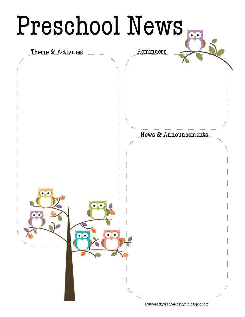 Newsletter Templates for Preschool Preschool Owl Newsletter Template